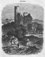 """Aachen """"Die Burg Frankenburg"""" Schöne Ansicht. Original Holzstich von 1860"""