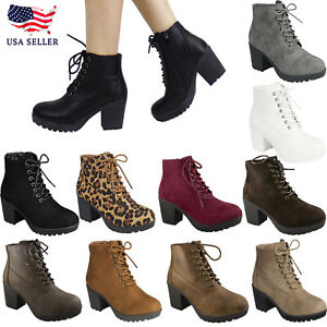 New Women's Causal Closed Round Toe Lace-Up Chunky Heel Combat Ankle Boot Bootie