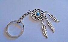 DREAM CATCHER FEATHER TURQUOISE KEY CHAIN CHARM SHINY SILVER BENEFITS CAT RESQ