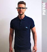 Camisetas de hombre de manga corta azul de 100% algodón