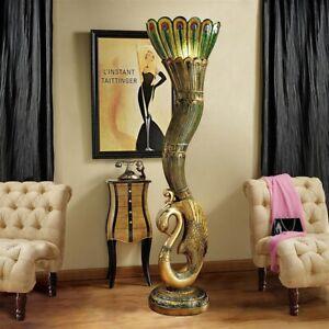 "Art Deco Peacock Sculptural Floor Lamp - 70"" Tall - New!"