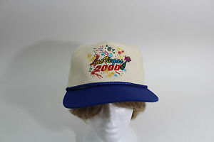 Las Vegas 2000 Celebration Baseball Cap Hat Cream Blue