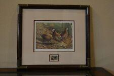 1994 Texas Quail Print and Stamp Jim Hautman Bobwhites Framed & Signed