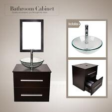 24'' Single Bathroom Vanity Cabinet Wall Mount Vessel Clear Glass Sink Drain Set