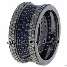 3.07cts Rose Cut Diamond Jewelry Sapphire Silver Antique Finish Eternity Ring