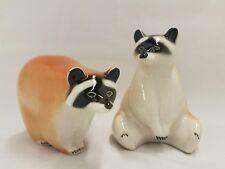 Vintage Raccoon USSR Soviet Russian Lomonosov Porcelain Figurines Racoon