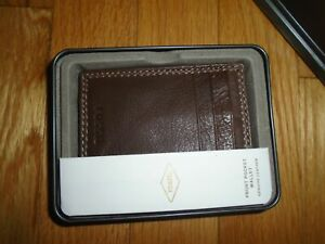 Fossil Mens Front Pocket Wallet Card Holder Cognac Brown Leather NWT