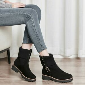 Women's Fashion Knitwear Stitching Faux Suede Round Toe Rivet Buckle Ankle Boots