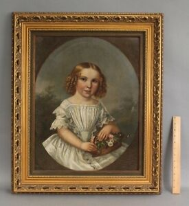 19thC Antique American Folk Art Portrait Oil Painting, Young Girl with Flowers