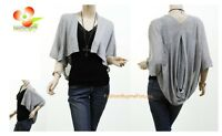 Women Boho Ruffle Lace Pouch Back Knit Shawl Sweater Cardigan Blouse Shirt Top G
