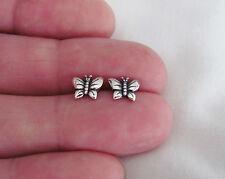 Sterling Silver 7mm antiqued butterfly post stud earrings.