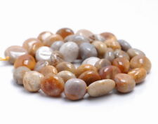 """8-10MM  CORAL FOSSIL GEMSTONE ROUND FLAT NUGGET LOOSE BEADS 15.5"""""""