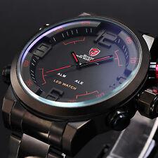 SHARK Mens LED Digital Quartz Wrist Watch Alarm Sport Army Black Stainless Steel