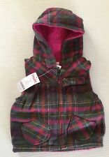 NWT Gymboree Fall Forest 2T-3T Herringbone Plaid Hooded Vest