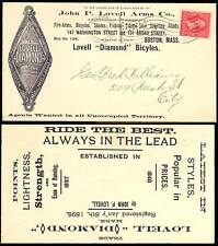 """1897 JOHN P. LOVELL ARMS Co. """"BICYCLES"""" ADVERTISING COVER BOSTON, MASS. BT2865"""