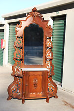 Fine Walnut Victorian Fruit & Nut Carved Marble Top Etagere with Cabinet Bottom