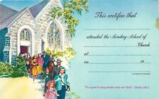 This Certifies Attended Sunday School Church Religious Psalm 147:1 Postcard