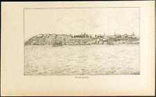 1892 - Gravure vue de la ville de Québec - Canada, Citadelle, Saint-Laurent
