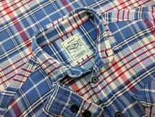 GANT RUGGER Mens CLASSIC Blue Red Check Flannel Twill Long Sleeve Shirt M Medium