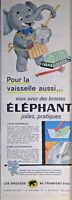 PUBLICITÉ 1960 LES BROSSES ÉLÉPHANT NE TROMPENT PAS POUR LA VAISSELLE
