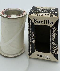 "Vintage Spool BUCILLA Ruban d'Art Taffeta Ribbon 3/16""-White-Knitting/Crocheting"