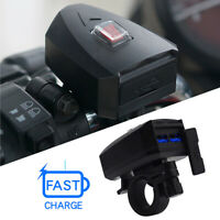 Waterproof Motorcycle ATV Dual USB  Power Charger Phone Charging With Switch