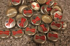 100 BUDWEISER KING OF BEERS BEER BOTTLE CAPS SILVER RED LOGO CENTER FREE SHPG!