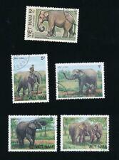 Elefanten aus Vietnam, fünf Werte gestempelt