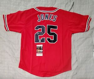 ANDRUW JONES Braves Autographed signed Custom baseball Jersey JSA COA