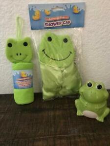 Bathtime washcloth microfiber hand towel, tooth brush holder, shower cap Frog