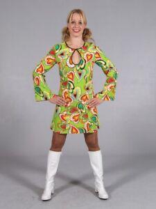 Ladies Floral 60's 70's Hippie Retro Psychedelic Fancy Dress Size 10