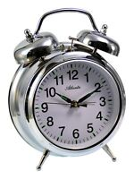 Atlanta Aufzieh Glockenwecker Mechanischer Wecker Silber 1060/19 Metallgehäuse