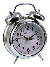 Atlanta a Cuerda Reloj Despertador Mecánico Plata 1060/19 Carcasa de Metal