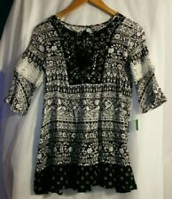 BEAUTEES Girl's Kid's Shirt Top Tunic Size XL Black White Floral with Lace