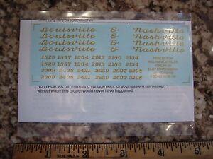 Louisville & Nashville L&N lightweight passenger coach decals, dulux gold, S