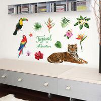 PVC Wall Decal Tropical Tiger Jungle Animal Creative Wallpaper