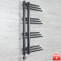 Black Electric Fuji Designer Heated Towel Rail Designer Radiator 900 x 500 mm