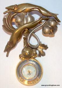 Huge Luna Parc Vintage Sterling Bronze Greyhounds Watch Pin Ricky Boscarino