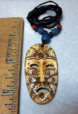 Tribal theme mask pendant Necklace w beads, expandable cord, face Tribal Marks