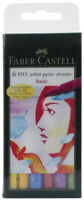 Faber Castell Pitt Artist Pens Basic Colors Set 6 Markers Brush Tip