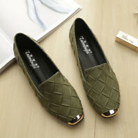 Womens Low Heel Brogue Oxfords Loafers Plaid Weave Casual Pumps Round Toe Shoes