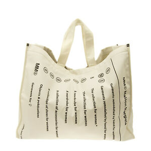 RRP €490 MM6 MAISON MARGIELA Oversized Tote Bag Printed Front Made in Italy