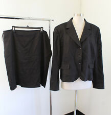 Tahari ASL Levine Brown Black Printed Skirt Suit Set Size 18 Blazer Career