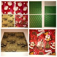 Box Of Vintage Christmas Wrapping Paper Gift Wrap Square 50's 60's Santa Deer