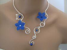 Collier Bleu roi blanc/ivoire robe Mariée/Mariage/Soirée perle Fleur pas cher