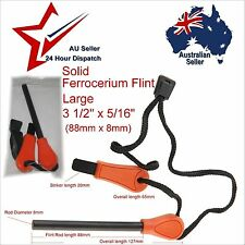 Large 88 x 8mm Solid Ferrocerium Flint Ferro Rod Fire Lighting Tool Kit Orange