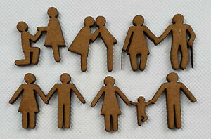 Card making FAMILY shapes laser cut mdf hobby crafting project 20 pack, 60mm