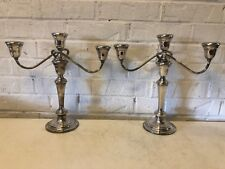 Vintage Gorham Silverplate Pair of Colonial 3 Part Candelabras #YC 3032