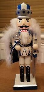 Wooden Nutcracker Walnut Sword Soldier Christmas Gift Decor Ornament Blue White