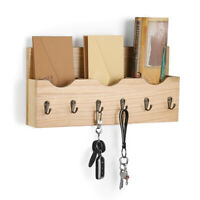 3-Slot Rustic Wall-Mounted Wood Rack with 6 Key Hooks Key Newspaper Home Decor.
